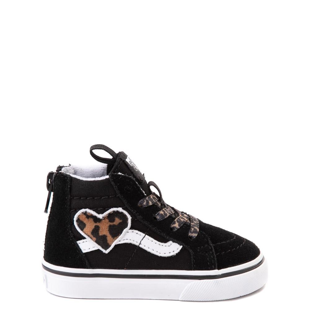 Vans Sk8 Hi Zip Leopard Heart Skate Shoe - Baby / Toddler - Black