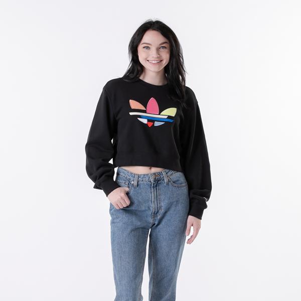 alternate view Womens adidas Adi-Color Shattered Trefoil Cropped Sweatshirt - Black / MulticolorALT1