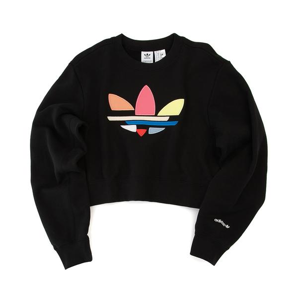 alternate view Womens adidas Adi-Color Shattered Trefoil Cropped Sweatshirt - Black / MulticolorALT2