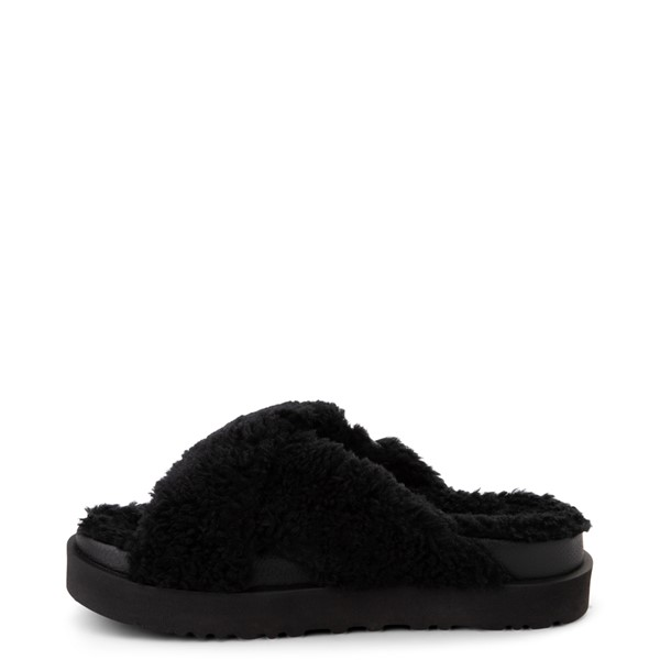 alternate view Womens UGG® Fuzz Sugar Slide Sandal - BlackALT1