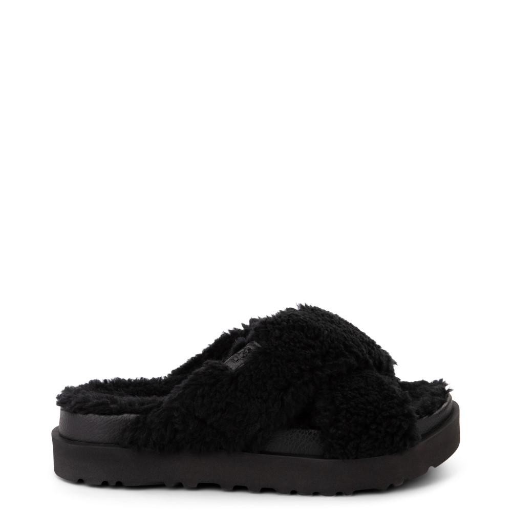 Womens UGG® Fuzz Sugar Slide Sandal - Black