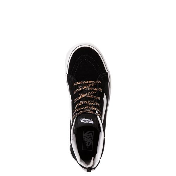 alternate view Vans Sk8 Hi Zip Leopard Heart Skate Shoe - Big Kid - BlackALT2