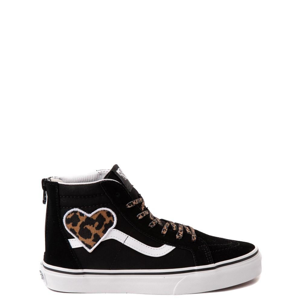 Vans Sk8 Hi Zip Leopard Heart Skate Shoe - Big Kid - Black