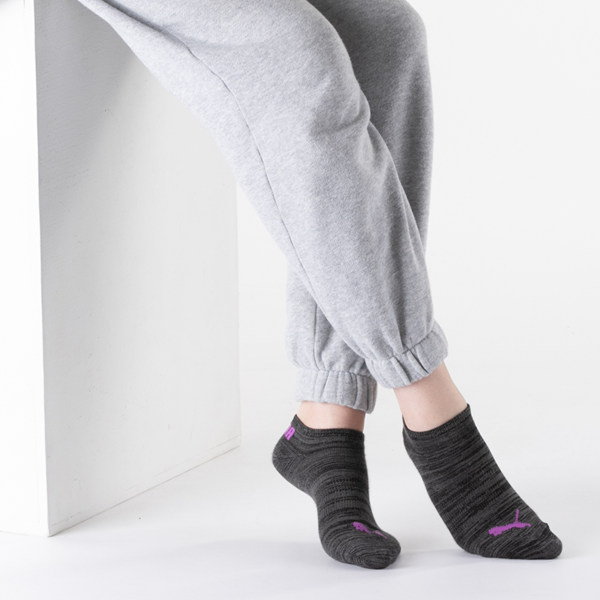 alternate view Womens Puma Super Soft Low Cut Socks 6 Pack - Black / MulticolorALT1