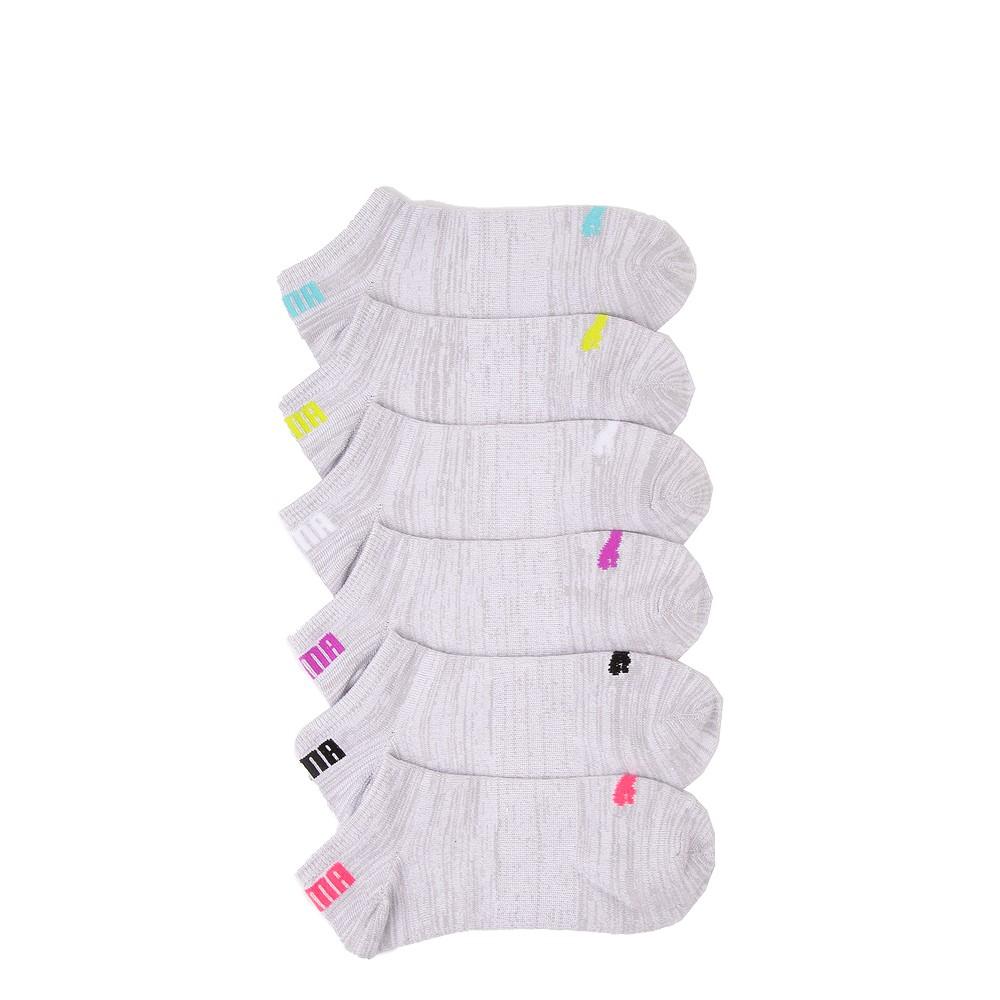 Womens Puma Super Soft Low Cut Socks 6 Pack - Gray / Multicolor