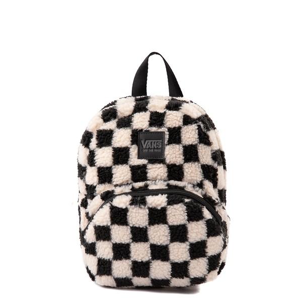 Main view of Vans Black Sheep Checkerboard Mini Backpack - Black / White