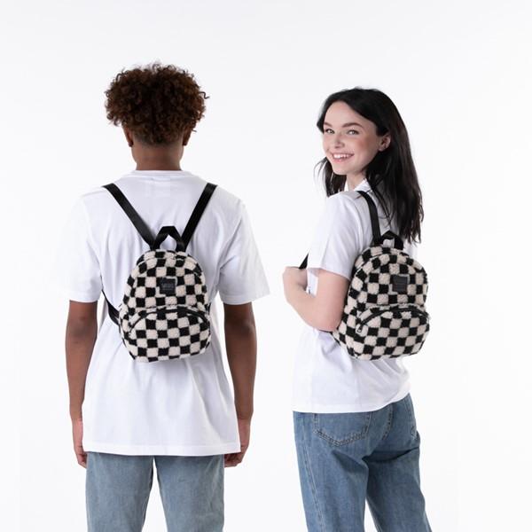 alternate view Vans Black Sheep Checkerboard Mini Backpack - Black / WhiteALT1BADULT