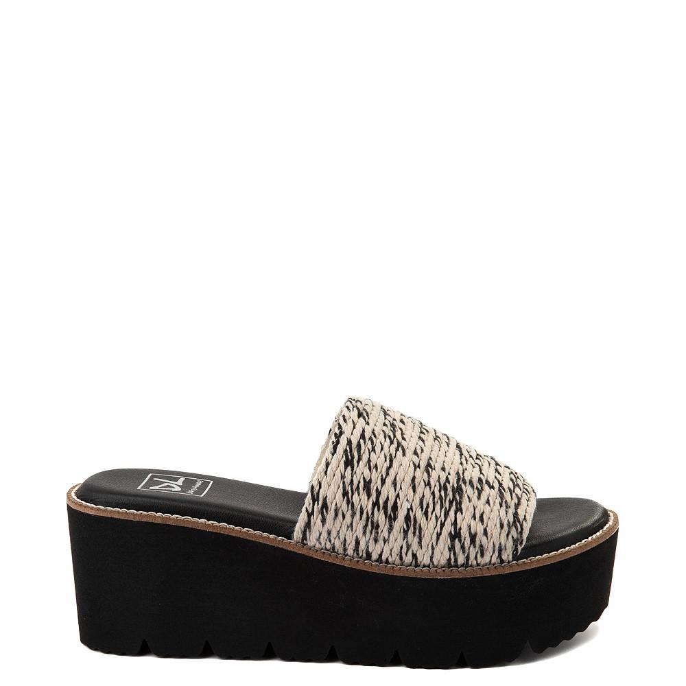 Womens Dirty Laundry Pivot Platform Slide Sandal - Black / Natural