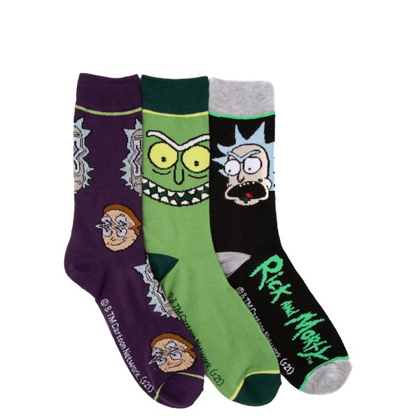 Mens Rick And Morty Crew Socks 3 Pack - Multicolor
