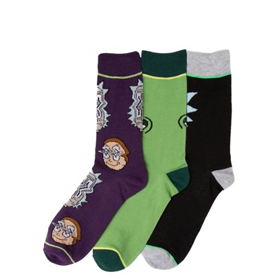 Alternate view of Mens Rick And Morty Crew Socks 3 Pack - Multicolor