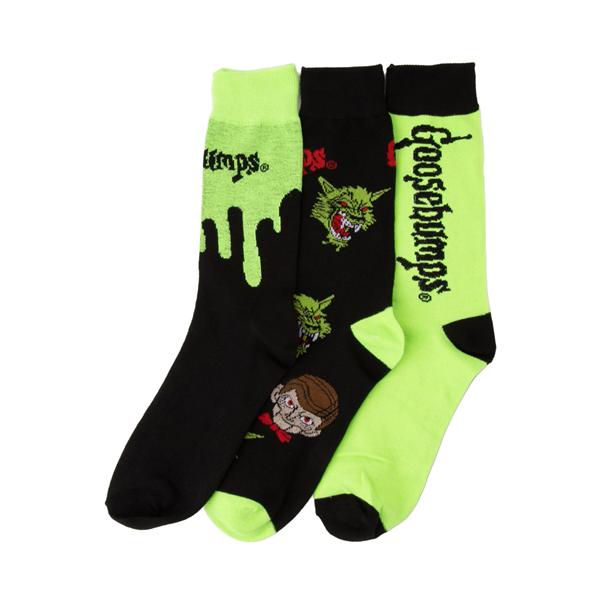 alternate view Mens Goosebumps Crew Socks 3 Pack - Black / GreenALT1