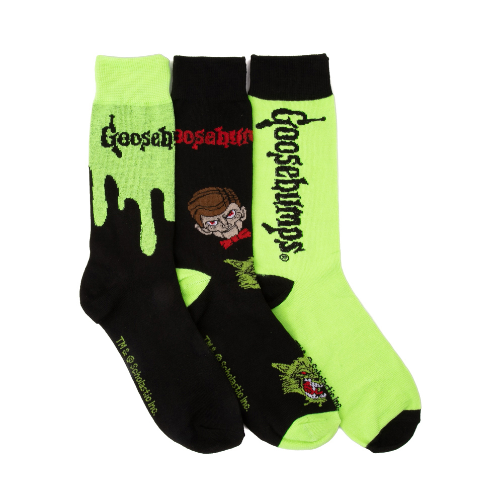 Mens Goosebumps Crew Socks 3 Pack - Black / Green