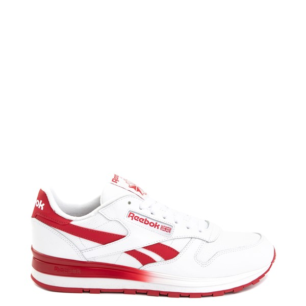 Mens Reebok Classic Leather Clip Athletic Shoe - White / Red