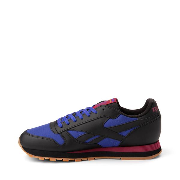 alternate view Mens Reebok Classic Leather Athletic Shoe - Black / CobaltALT1