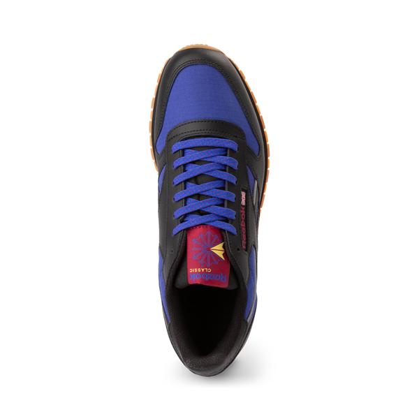 alternate view Mens Reebok Classic Leather Athletic Shoe - Black / CobaltALT2