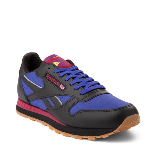 alternate view Mens Reebok Classic Leather Athletic Shoe - Black / CobaltALT5