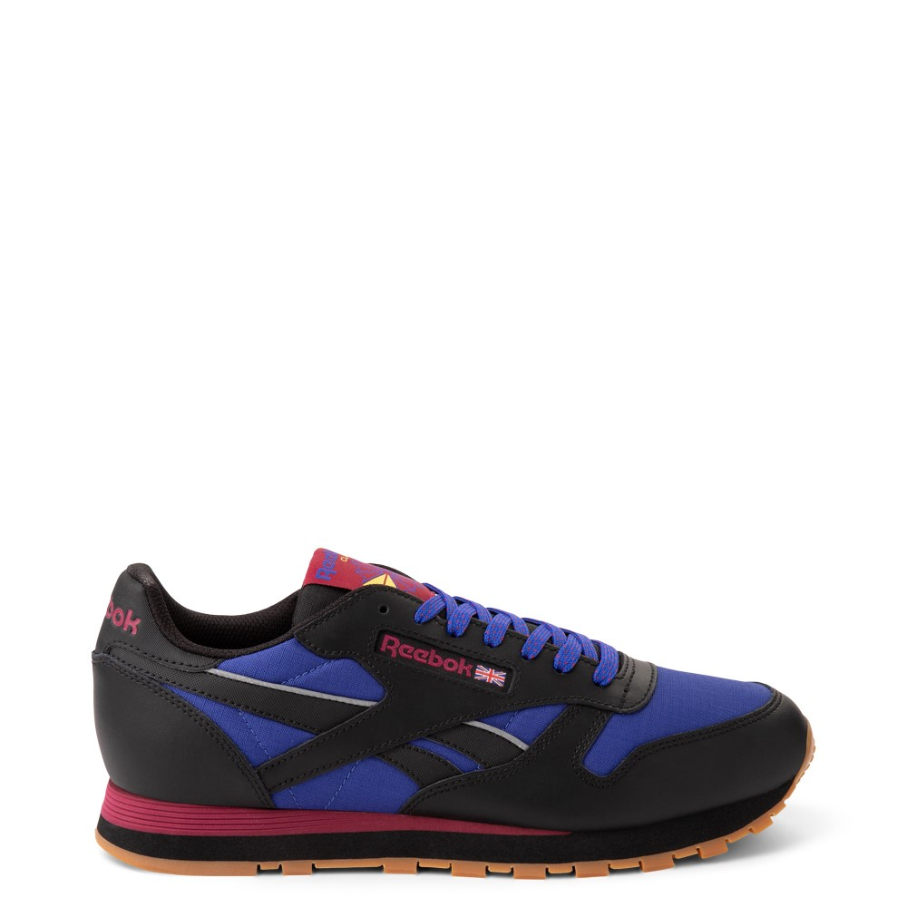 Mens Reebok Classic Leather Athletic Shoe - Black / Cobalt