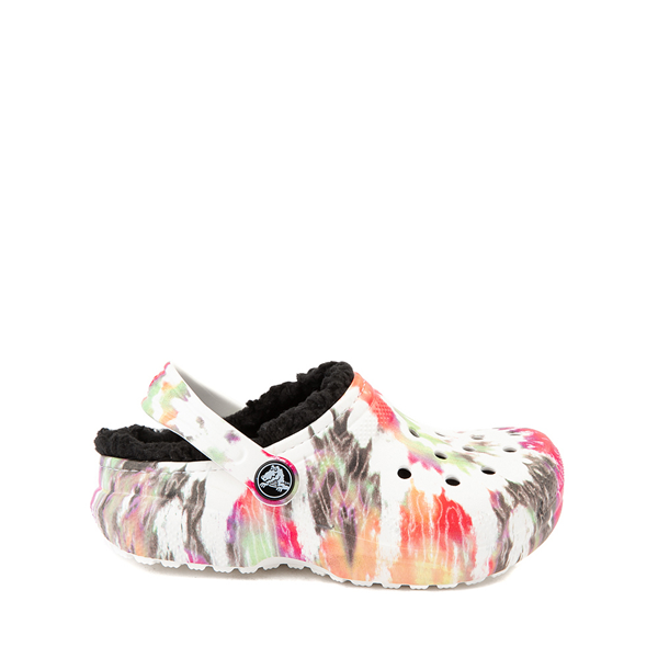 Main view of Crocs Classic Fuzz-Lined Clog - Baby / Toddler / Little Kid - White / Tie Dye