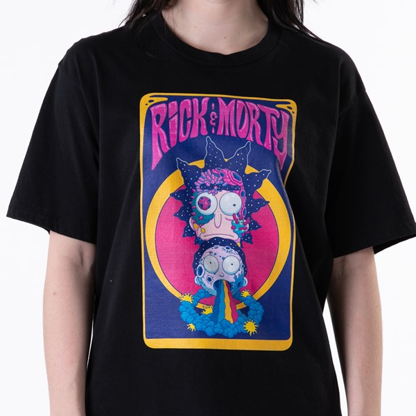 alternate view Womens Rick and Morty Rainbow Boyfriend Tee - BlackALT1B
