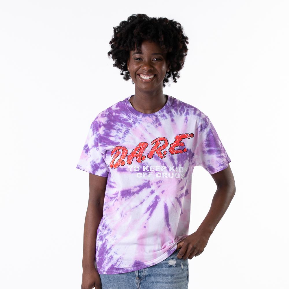 Womens Dare Logo Boyfriend Tee - Purple Tie Dye