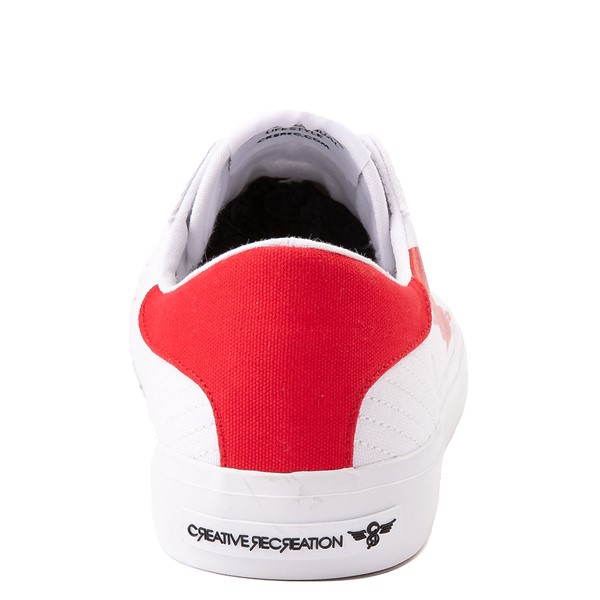 alternate view Mens Creative Recreation Zeus Lo Sneaker - White / RedALT4