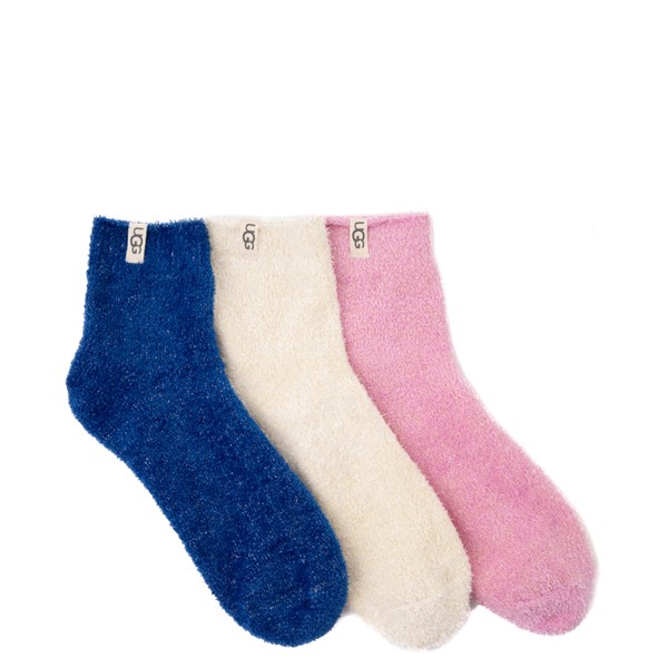 Main view of Womens UGG® Keri Sparkle Quarter Socks 3 Pack - White / Blue / Primrose
