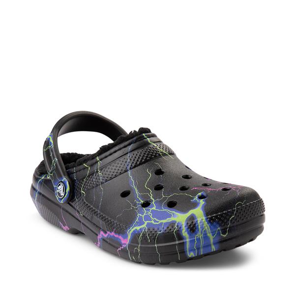 alternate view Crocs Classic Fuzz-Lined Clog - Black / LightningALT5