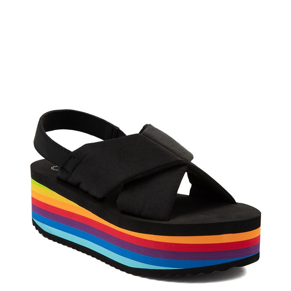 alternate view Womens Rocket Dog Hanalei Platform Sandal - Black / RainbowALT5