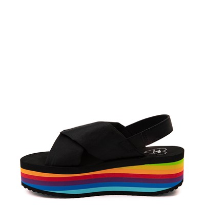 Alternate view of Womens Rocket Dog Hanalei Platform Sandal - Black / Rainbow