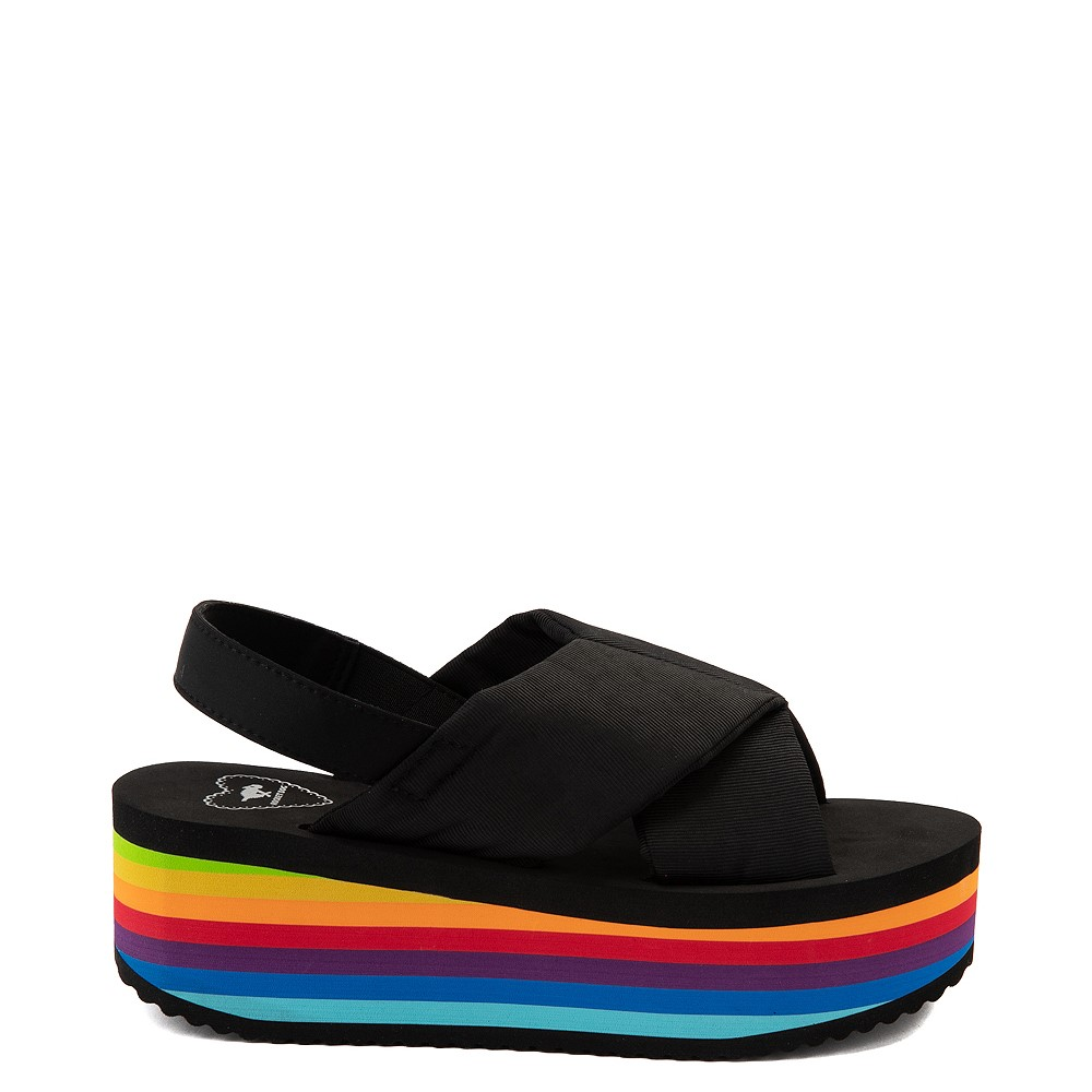 Womens Rocket Dog Hanalei Platform Sandal - Black / Rainbow