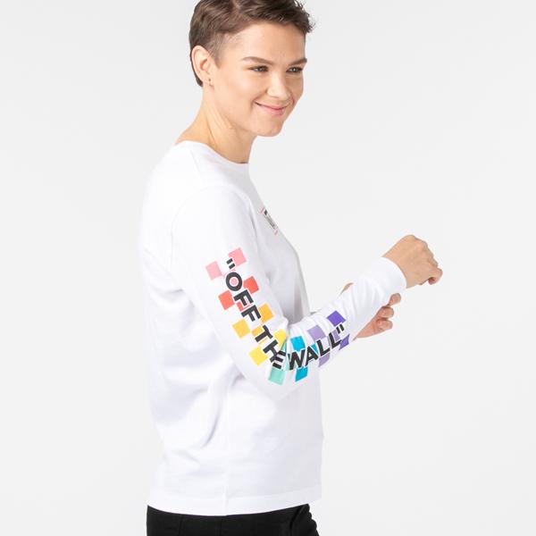 alternate view Womens Vans Side Box Checkerboard Long Sleeve Tee - White / RainbowALT3