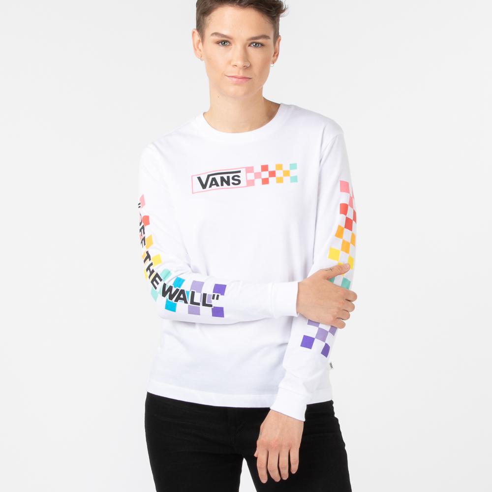 Womens Vans Side Box Checkerboard Long Sleeve Tee - White / Rainbow