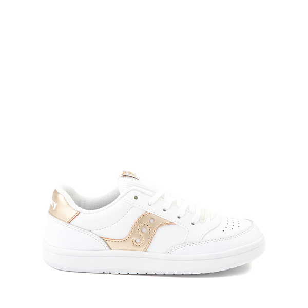Main view of Saucony Jazz Court Athletic Shoe - Little Kid / Big Kid - White / Gold