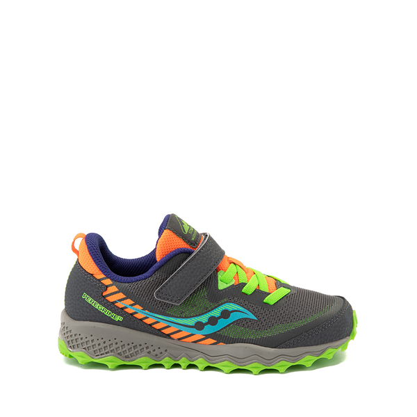 Main view of Saucony Peregrine 11 Shield Athletic Shoe - Little Kid / Big Kid - Gray / Green