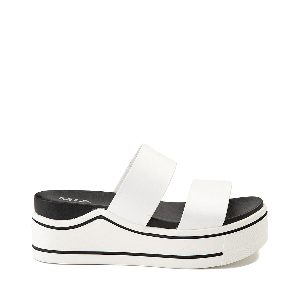 Womens MIA Ozzie Platform Slide Sandal - White