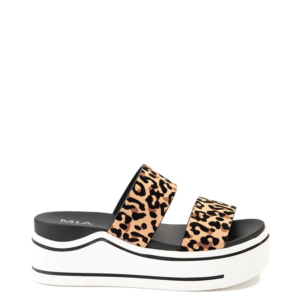 Womens MIA Ozzie Platform Slide Sandal - Leopard
