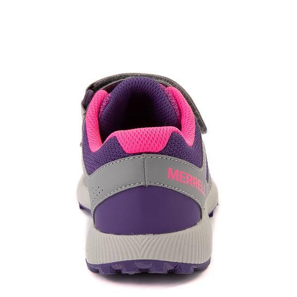 alternate view Merrell Nova 2 Sneaker - Little Kid / Big Kid - Gray / Purple / BerryALT4