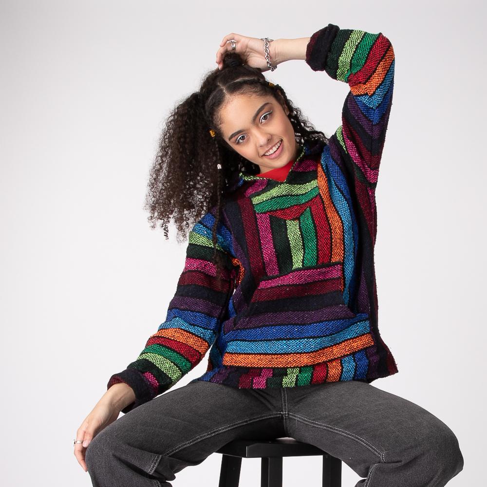 Womens Rainbow Baja Poncho - Multi