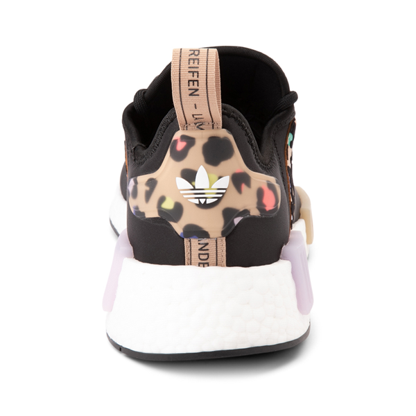 alternate view Womens adidas NMD R1 Athletic Shoe - Black / Party LeopardALT4