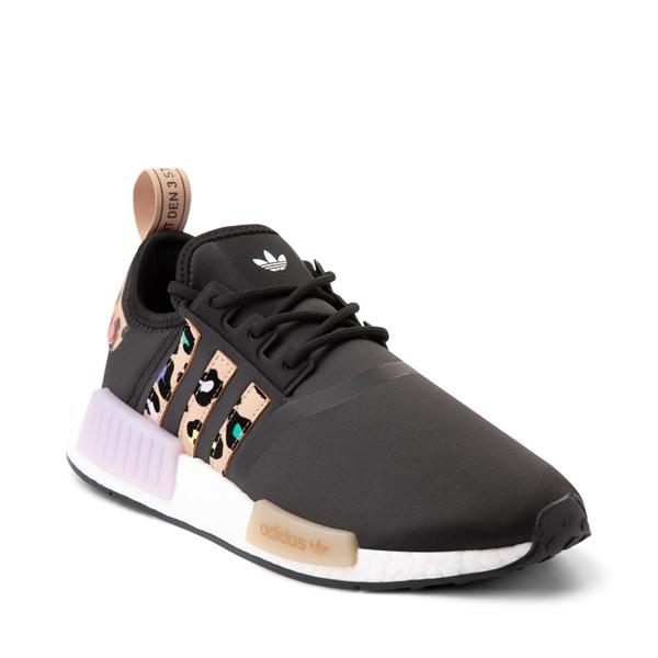 alternate view Womens adidas NMD R1 Athletic Shoe - Black / Party LeopardALT5
