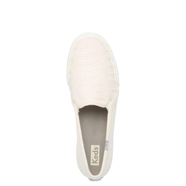 alternate view Womens Keds Double Decker Ribbed Wave Slip On Casual Shoe - CreamALT2