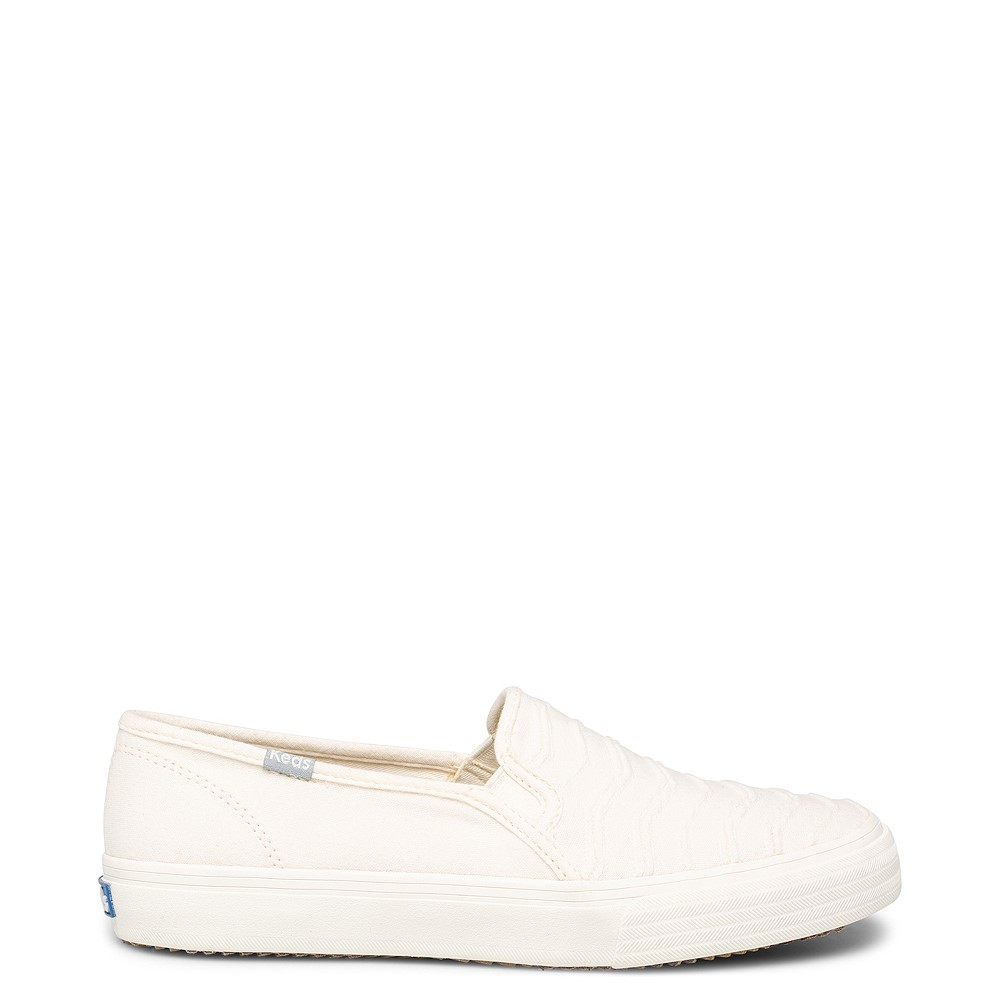 Womens Keds Double Decker Ribbed Wave Slip On Casual Shoe - Cream
