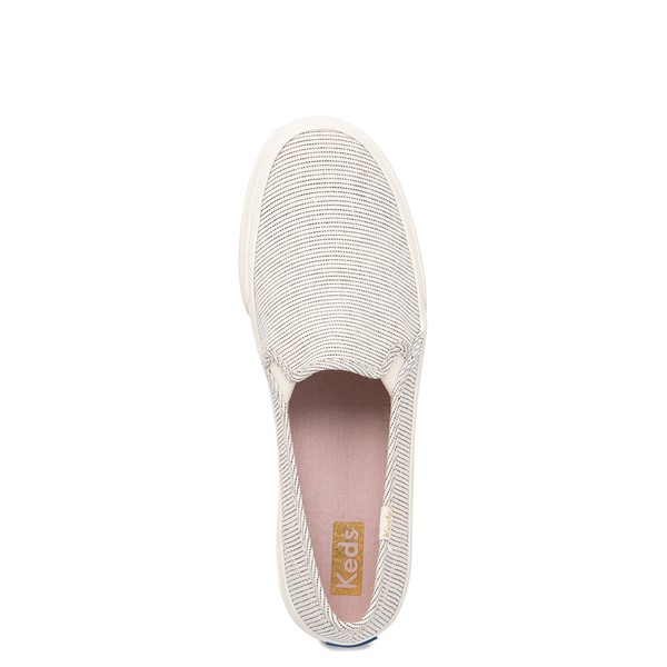 alternate view Womens Keds Double Decker Ikat Stripe Slip On Casual Shoe - Cream / BlackALT2