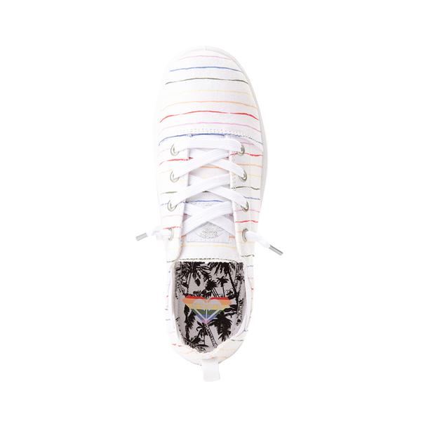 alternate view Womens Roxy Libbie Slip On Casual Shoe - White / Rainbow StripesALT2