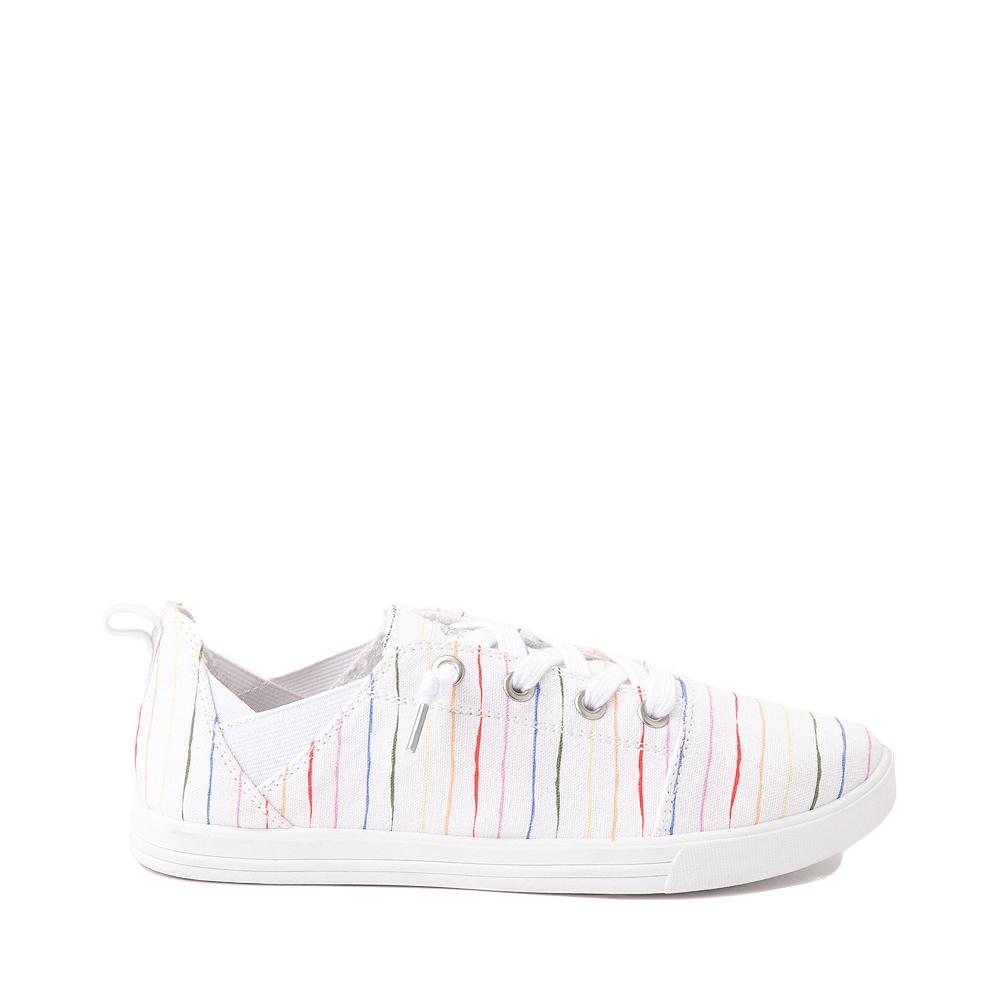 Womens Roxy Libbie Slip On Casual Shoe - White / Rainbow Stripes