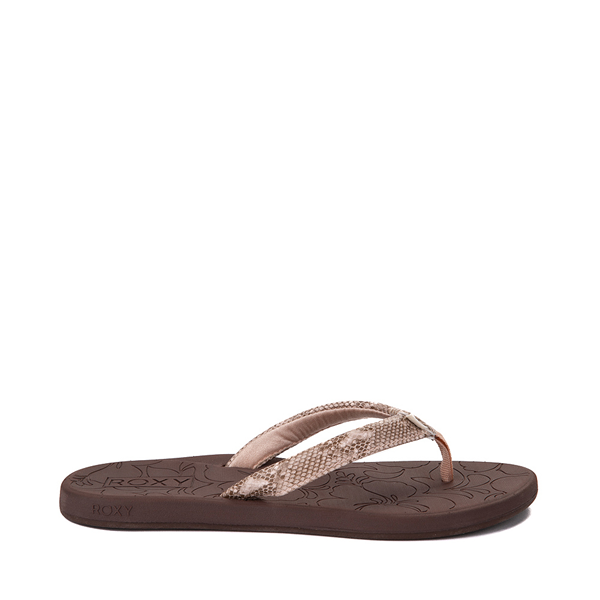 Main view of Womens Roxy Vickie Sandal - Brown / Snakeskin