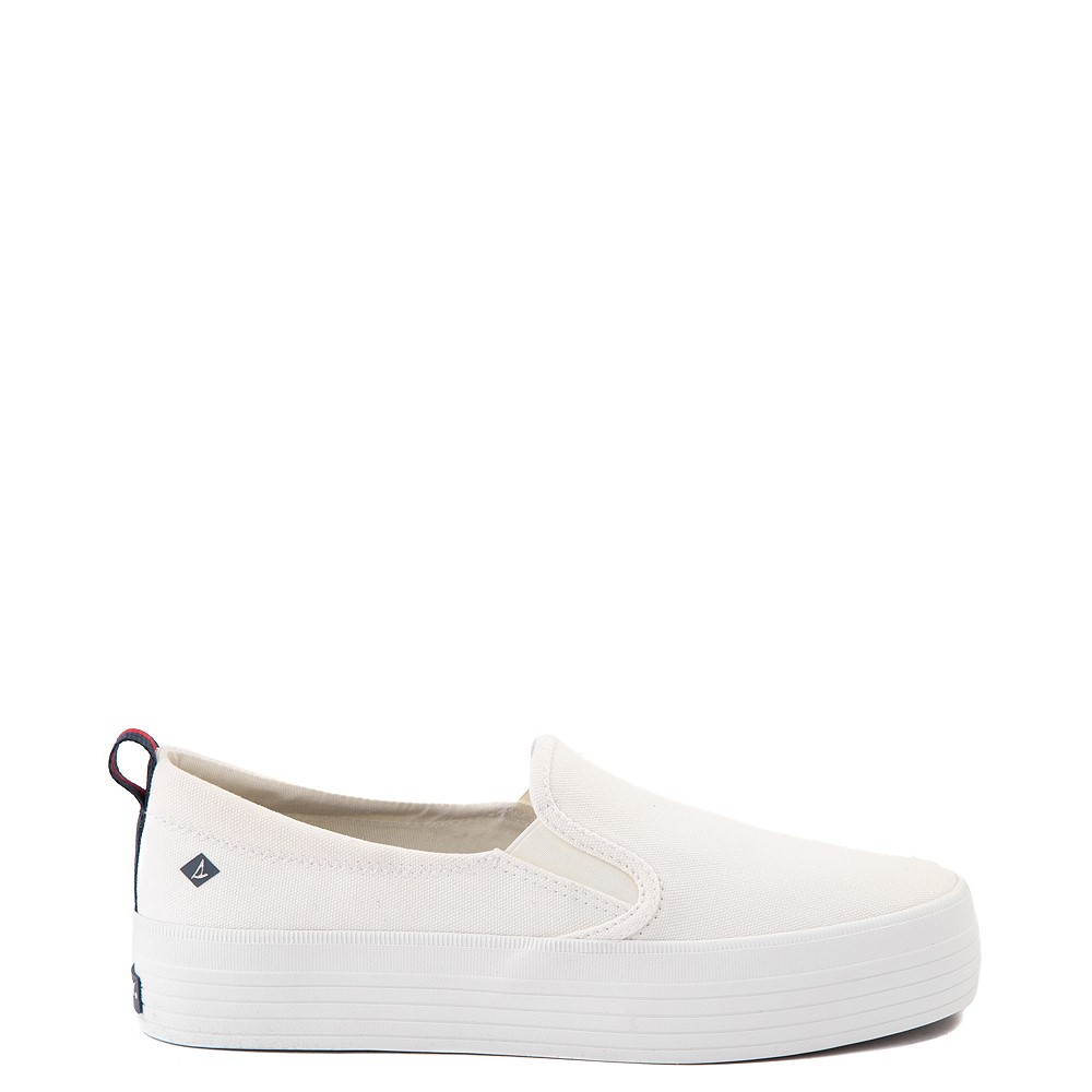 Womens Sperry Top-Sider Crest Platform Slip On Casual Shoe - White