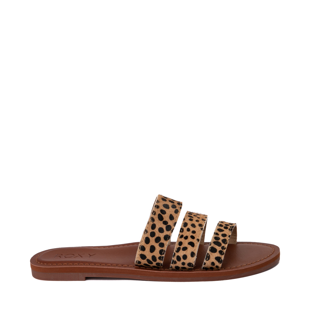 Womens Roxy Wyld Rose Slide Sandal - Cheetah