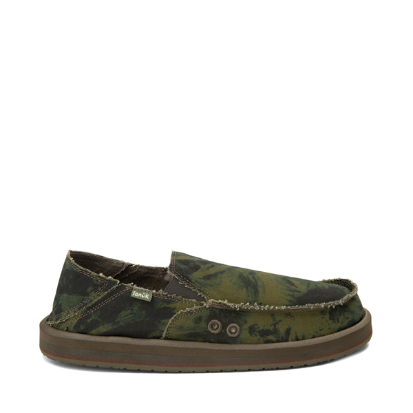 Main view of Mens Sanuk Vagabond ST Slip On Casual Shoe - Green / Navy Tie Dye
