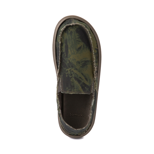 alternate view Mens Sanuk Vagabond ST Slip On Casual Shoe - Green / Navy Tie DyeALT2
